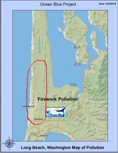 Map showing where fireworks collected on a local beach in Long Beach Washington.