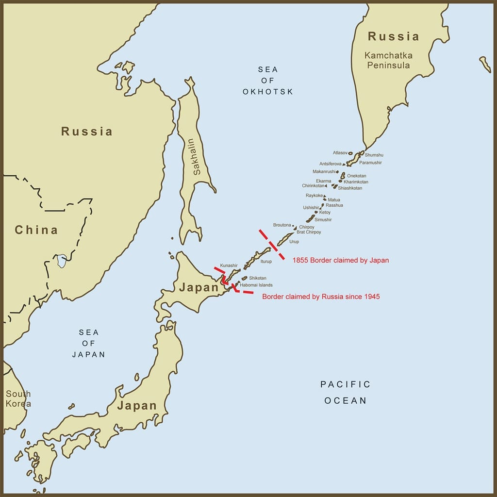 Map of Kuril Islands in Russia where earth quake took place.