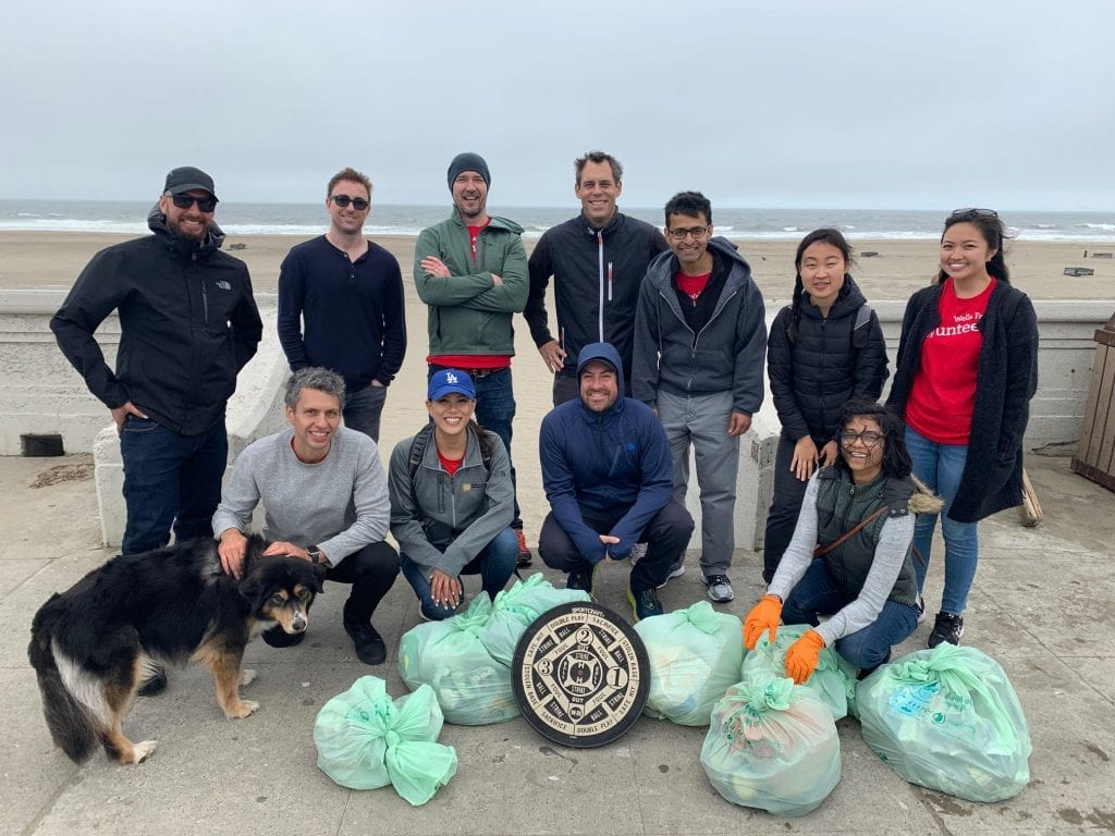 Photo of Wells Fargo Employees at a beach cleanup with Ocean Blue Project