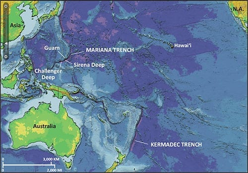 facts about the ocean with map of the Mariana Trench showing average depth of the Ocean.