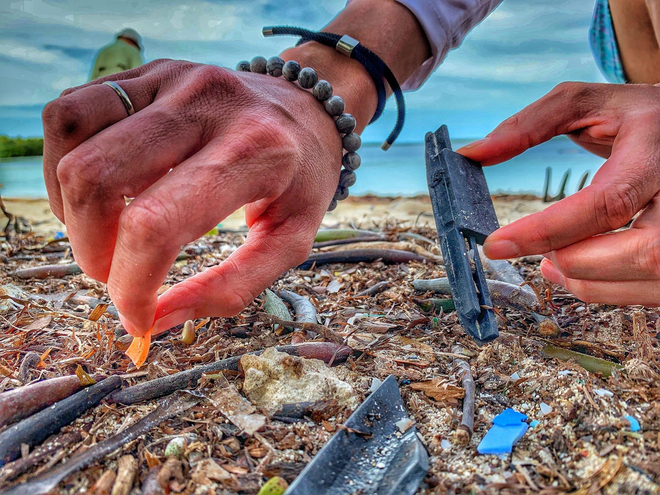 Plastic-found-on-a-beach-in-Key-Largo-Florida